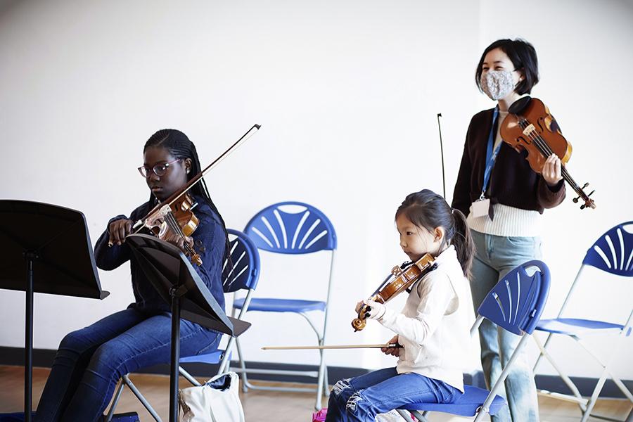 A youth string ensemble rehearsal.